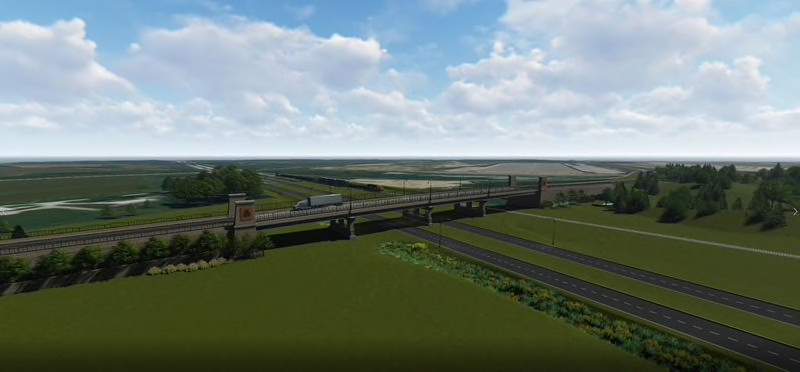 A rendering shows a proposed bridge over Route 53 that would serve the proposed Compass Global Logistics Hub in Will County. (NorthPoint)